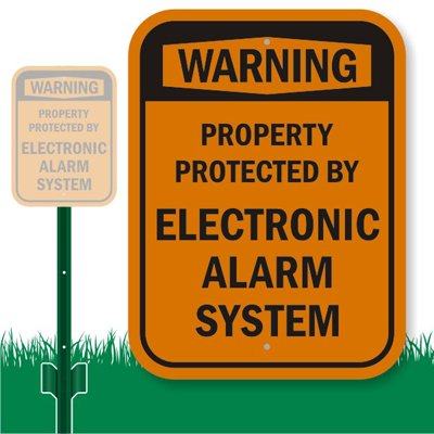 "Smartsign Aluminum Sign, Legend ""Warning: Electronic Alarm System"", 12"" High X 9"" Wide Sign Plus 3' Tall Stake, Black On Orange"