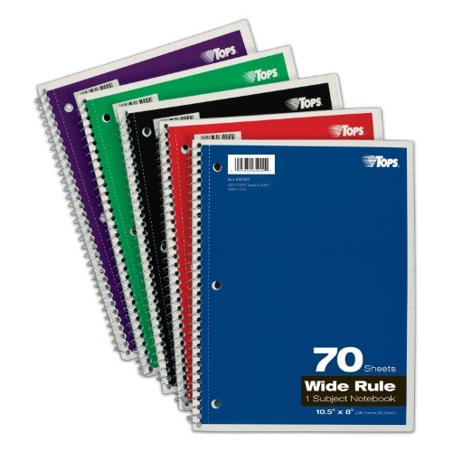 51QPYc4C3RL. SL500  TOPS 1 Subject Spiral Notebooks, Wide Rule, 8 x 10.5 Inches, 70 White Sheets per Book, Cover Colors May Vary, Box of 24 (65000)