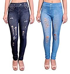 Blinkin Blue,Black Denim look Distressed-Ripped leggings for girls, Free Size (waist 24 to 32 size only) Combo (pack of 2)