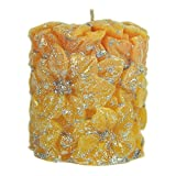 Hanukkah Candles Poinsettia Frosted Yellow