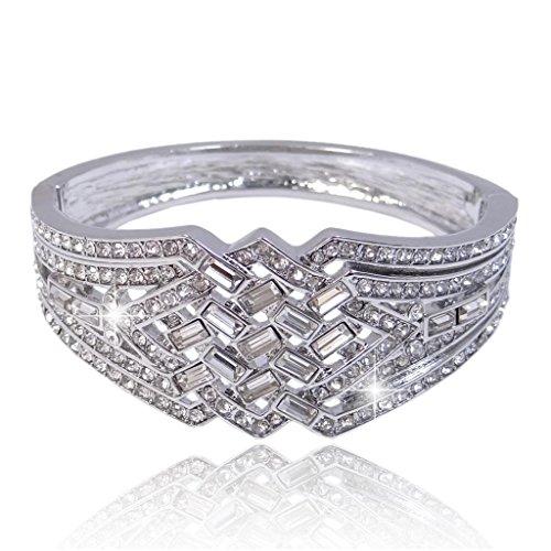 Mai Bracciale Deco fede nuziale d'argento-tono quadrato Art cristallo austriaco