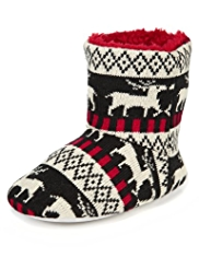 Reindeer Ankle High Knitted Slippers
