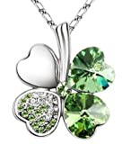 SheClub Green Crystal Four Leaf Clover Heart Shape Pendant Swarovski Elements Necklace with 18'' Chain