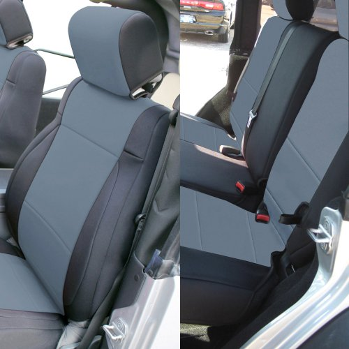 Leader Accessories New Jeep Wrangler 2 X Front & 1X Rear 2008-2010 Jk Custom Seat Covers 4 Door Without Side Airbag (Charcoal/Black) front-593213