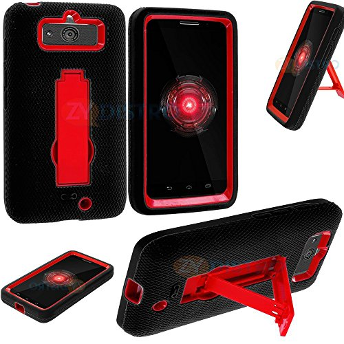 Mylife (Tm) Black + Red Commuter Series (Built In Kickstand) Survival Case For Motorola Droid Mini Xt1030 Smartphone (Shockproof External Silicon Gel + 2 Piece Internal Rubberized Hard Case + Gripable Texture)