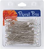 Darice 100-Piece Pearl Flower Pins, 3-Inch by 6ml