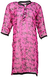 Anshul Textile Women's Georgette Regular Fit Kurta (Pink)
