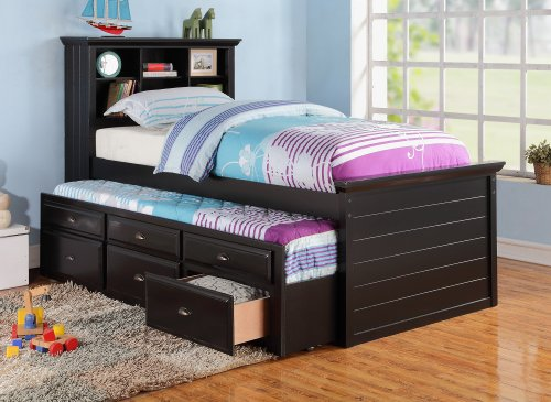 BLACK CAPTAIN TWIN BOOKCASE BED W/TRUNDLE BED AND 3 DRAWERS STORAGE (Wood Trundle Bed compare prices)