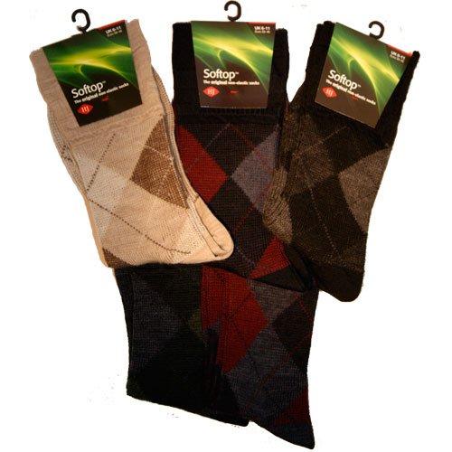 Mens HJ Hall Softop Non Elastic Argyle Wool Sock 6-11