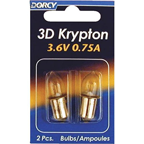 Dorcy 41-1661 3D - 3.6V 0.75A Bayonet Base Krypton Replacement Bulb, 2-Pack