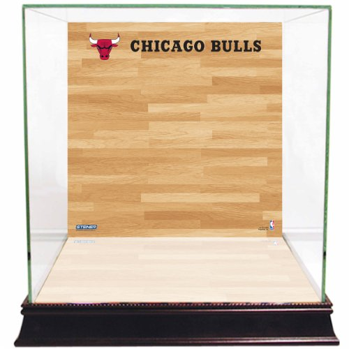 NBA Chicago Bulls Glass Basketball Display Case with Team Logo on Court Background (Chicago Bulls Display Case compare prices)