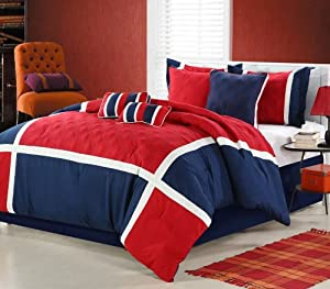 Quincy 8 Piece Comforter Set Size: King, Color: Red