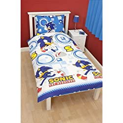 Childrens/Boys Sonic The Hedgehog Single Bedding Sheets Set (Single Bed) (White/Blue)