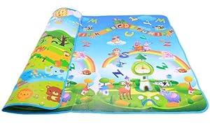 ZeleSouris Alfombra de juegos para bebé y niños Estera de EPE antideslizante 200cm * 180cm con patrones coloridos