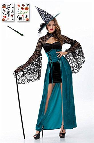 ハロウィンコスプレ 魔女 大人 衣装 帽子 魔法ステッキ タトゥーシール付き