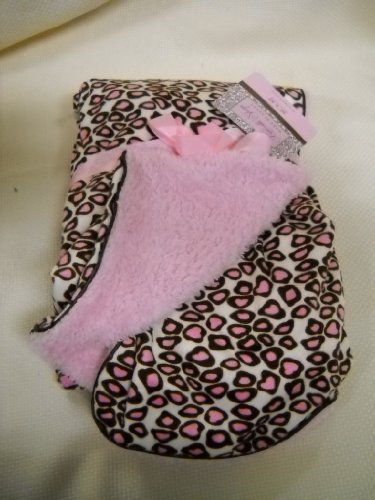 Pink and Brown Little Leopard Reversable Baby Blanket Girls Nursery Decor Shower Gift - 1
