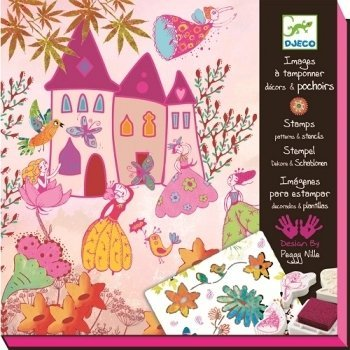 Create Beautiful Scenes And The Stories To Go With Them With This Stamp And Stencil Kit - Djeco Princesses Stamp Patterns and Stencils Kit