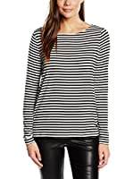 Tom Tailor Denim Camiseta Manga Larga Langarmshirt striped shirt/512 (Negro / Blanco)