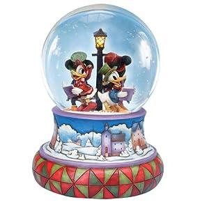 Jim Shore Disney Traditions Mickey Caroling Waterglobe Mickey Minnie Donald Daisy from Enesco