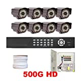 51QPvS%2BbX7L. SL160  Complete Professional 8 Channel Real Time H.264 (500GB HD) DVR Outdoor Security Camera Surveillance CCTV System Package with 8 Pack 1/3 Sony CCD WDR, 600 TV lines, 3.6mm Lens, 48pcs IR LED, 131 feet IR Distance Outdoor Cameras