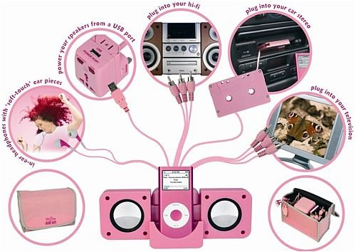 The Pink Pod Kit MP3 MP4 Accessory Kit in Pink