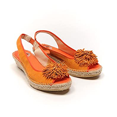 VIDORRETA Orange Suede Pom Pom Sandals Size 37 / UK 4 RRP £57 GT 516 ...