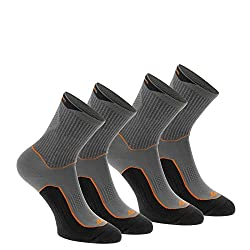 QUECHUA ARPENAZ 100 HIGH-TOP ADULT HIKING SOCKS 2 PAIRS - GREY/ORANGE