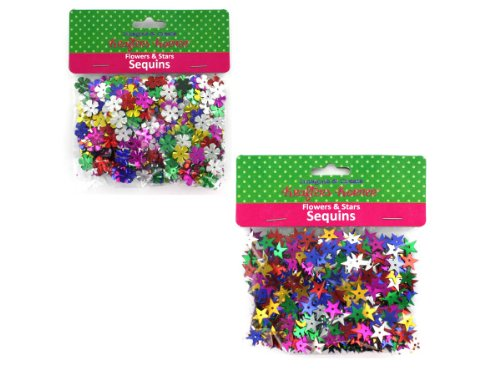 New - flower and star sequins assorted colors (assort may vary) - Case of 24 by bulk buys