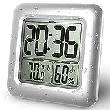 Emate防水液晶シャワーデジタル温度湿度計 ウォータープルーフウォールマウントクロック 時間、温度 、湿度合一バスルーム時計