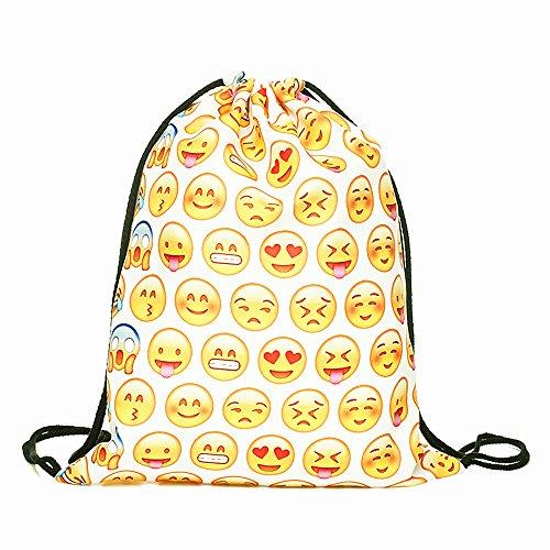 Cevinee™ Portable Gym Sack Pack Drawstring Emoji Backpack, Cute Emoji Daily Pull String Bag, Lovely Smile Face Kid's Shcool Bag - Pure Emoji, White (Emoji Draw compare prices)