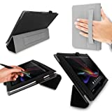 SONY XPERIA Z Tablet Case - G-HUB Black Carbon Fibre PropUp Stand Case Cover (with integrated stand function and hand strap) for Sony XPERIA Tablet Z SGP311 / SGP312 - Fits All Versions (16GB, 32GB, 3G / LTE, WiFi) with Magnetic Sleep Sensor, plus BONUS: G-HUB ProPen Stylus