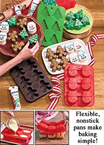 Set of 3 Silicone Christmas Baking Pans for Cupcakes, Muffins, Gelatins, Treats and More! Christmas Tree, Gingerbread Men, Snowmen!