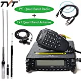 TYT TH-9800 PLUS 50W 809CH Quad Band Dual Display Repeater Car Mobile Radio+ Original Quad Band Antenna & TYT Programming Cable + RB400 Car Clip Edge with Teflon 5M Cable
