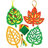 Leaf Stained Glass Effect Decorations (Pack of 6)