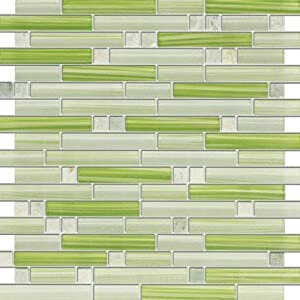GREEN Stone And Glass Mosaic Tiles For Kitchen Bathroom Backsplash