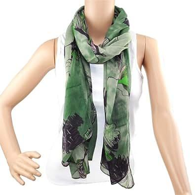 Green Long Fashional Chiffon Shawl Scarves Begonia Voile Ink