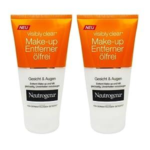 2x NEUTROGENA® Visibly Clear® Make-up Entferner, ölfrei, für Gesicht und Augen, beugt Unreinheiten vor, je 150ml