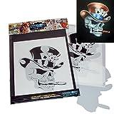 Schneidmeister Airbrush Schablone SM-HBSM08 Pokerface Skull mit Zigarre