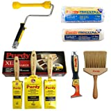 Purdy Paint & Decorating Set Brushes Scraper Cageless Roller Frame & Sleeves Kit