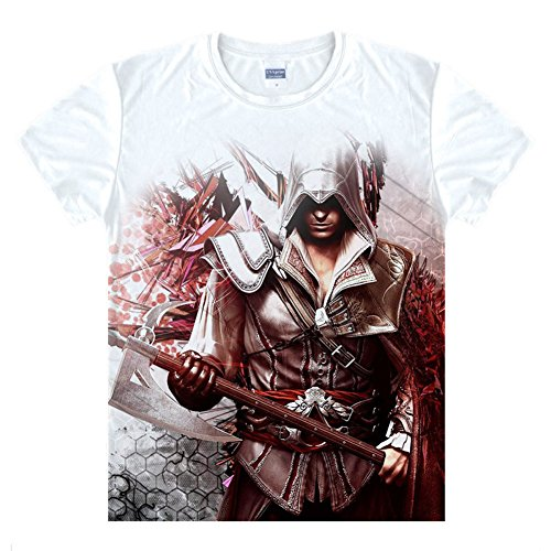 Assassin's Creed Desmond Cosplay Costume Shirt Short Sleeve White
