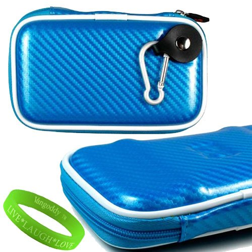 Portable Hard Drive Computer Accessories Hard Cube Protective Carrying Case in Sapphire EVA **Fits WD My Passport for Mac Portable Hard Drives** + VanGoddy LIVE * LAUGH * LOVE Wristband