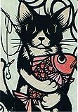 ねこの引出し 猫切り絵作家「さとうみよ」のポストカード21「鯛」