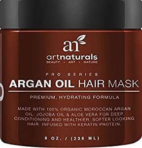 Art Naturals Argan Oil Hair Mask, Deep Conditioner 236ml, 100% Organic Jojoba Oil, Aloe Vera & Keratin, Repair Dry, Damaged Or Color Treated Hair After Shampoo, Best For All Hair Types - Sulfate Free