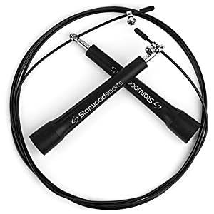 Skipping Rope - #1 Best Speed Rope - Easily Adjustable 10 ft Cable, Lightweight + Premium Quality - Steel Ball Bearings - Ideal for Crossfit, MMA, Boxing + Fitness Training - Suitable for Men and Women - Lifetime Guarantee