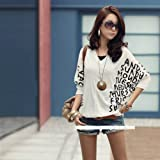 NEEWER® Women Loose Shirt Casual Sleeve Batwing Summer Letter Blouse Tops (White)