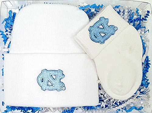 North Carolina UNC Tar Heels Newborn Baby Knit Cap and Socks Gift Set