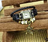 6 Colour Available Classic Quartz Fashion Charm Angel Pendant Weave Wrap Around Leather Bracelet Strap Lady Woman Wrist Watch High Quality Elegant Gift (Black)