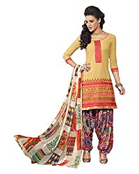 Ala4u Orange printed Patiala style Unstiched Cotton Dress Material