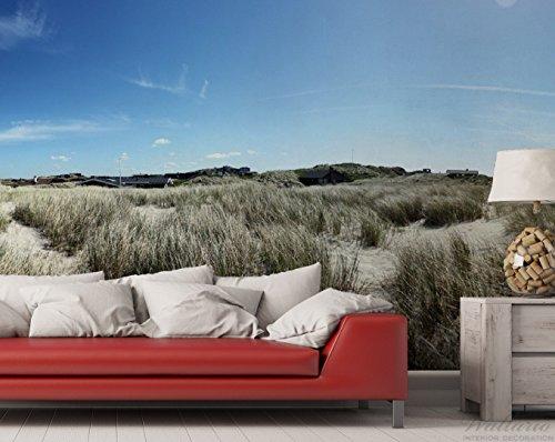 Premium XXL Vliestapete Dünen mit Gras und kleiner Ortschaft - Größe: 400 x 267 cm - 2
