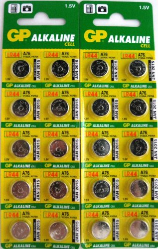 GP A76 LR44 AG13 Alkaline Cell 1.5V Alkaline Button Cell Battery X (20) Batteries EXP 2015